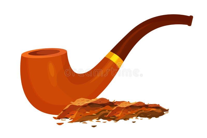 Rauchender Tabak und antike, hölzerne, Pfeife, Weinleserohr lizenzfreie abbildung
