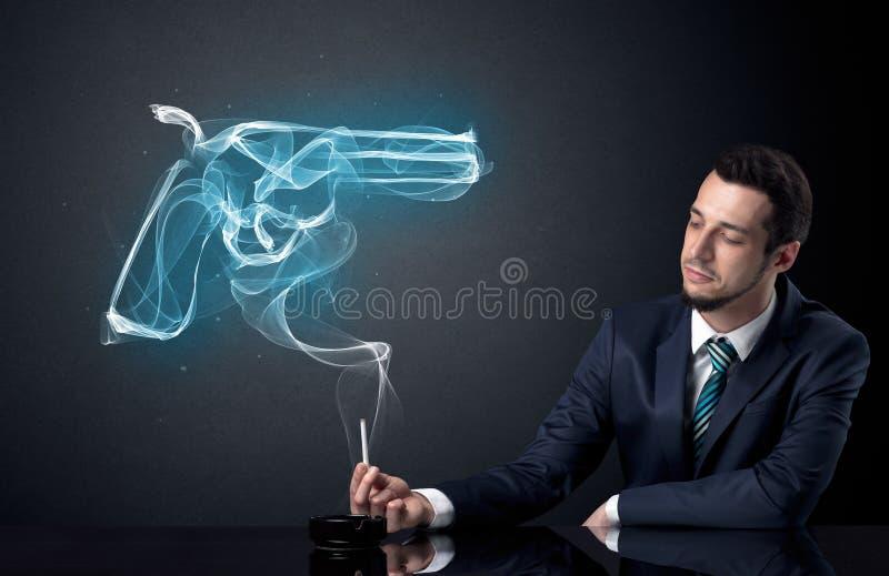 Rauchendes Konzept des Geschäftsmannes lizenzfreies stockbild