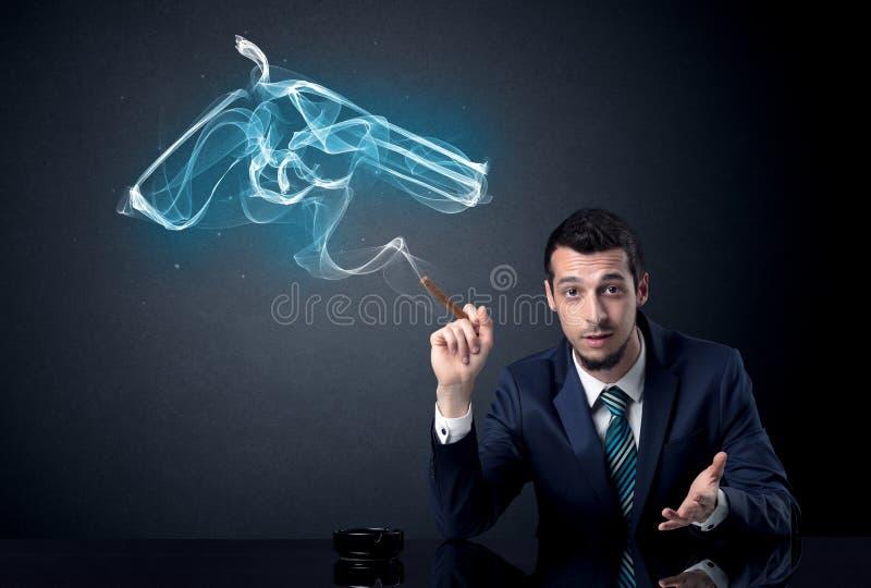 Rauchendes Konzept des Geschäftsmannes stockbilder