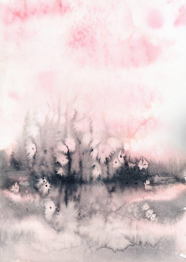 Rauchige nebelhafte Aquarellbeschaffenheit der Zusammenfassung, Pastell-, weiche empfindliche Farbpalette lizenzfreies stockbild