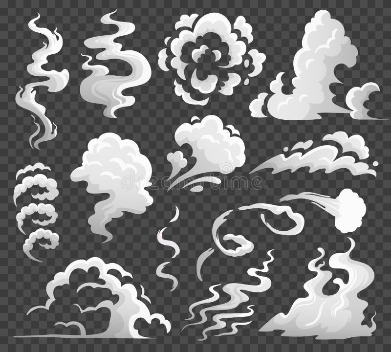 Rauchwolken Komische Dampfwolke, Dampfwirbel und Dampffluß Staub bewölkt lokalisierte Karikaturvektorillustration stock abbildung