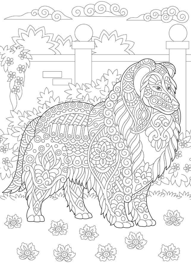 Rauer Colliehund Zentangle lizenzfreie abbildung