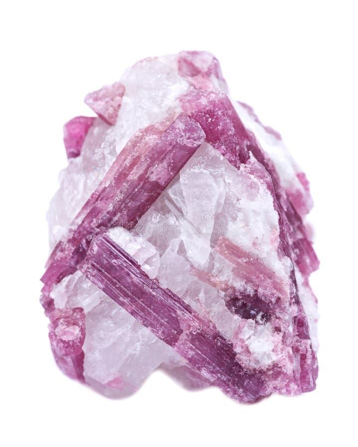 Rauer weißer Quarz verziert mit rosa Tourmalinekristallen, von Brasilien stockbild