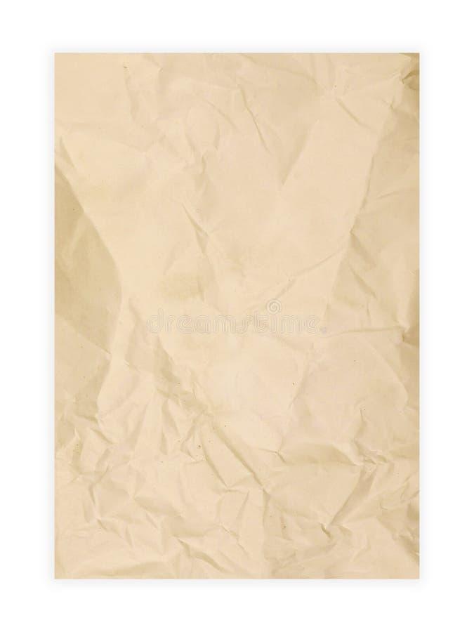 Raues beige Papier lokalisiert auf weißem Hintergrund Schmutzhintergrundbeschaffenheit für Design lizenzfreie stockbilder