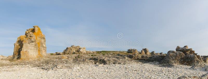 Rauk pole przy Langhammar, Faro, Gotland Rauk jest lokalnym słowem dla seastack obraz royalty free