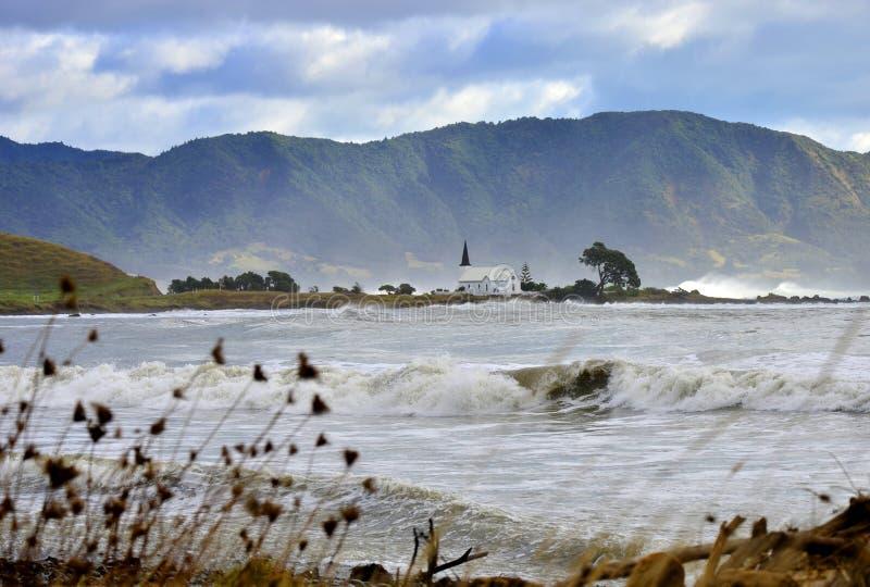 Raukokore kościół krajobraz burza dzień obrazy royalty free