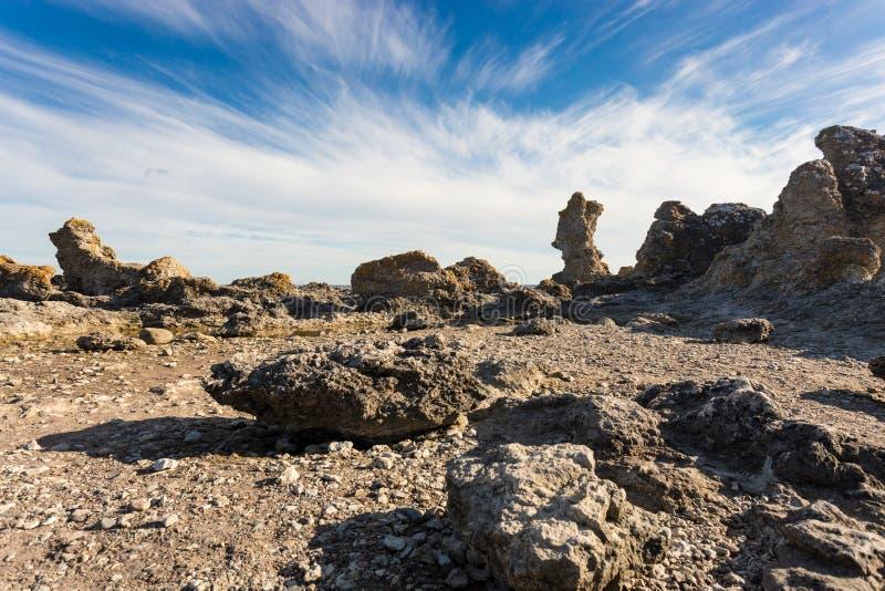 Rauks, morze bałtyckie, Faro, Gotland, Szwecja obrazy stock