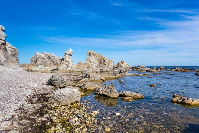 Rauks, morze bałtyckie, Faro, Gotland, Szwecja fotografia stock