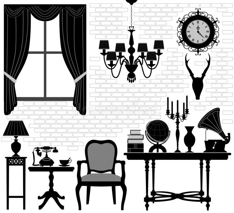 Raum-antike alte Hall-Möbel lizenzfreie abbildung
