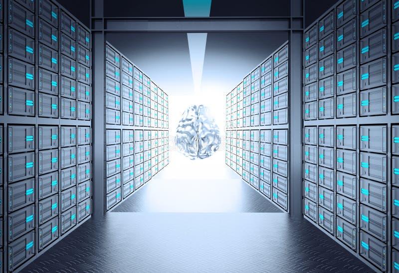Raum des Servers 3d, der führt, um Ikone des menschlichen Gehirns zu asphaltieren stock abbildung