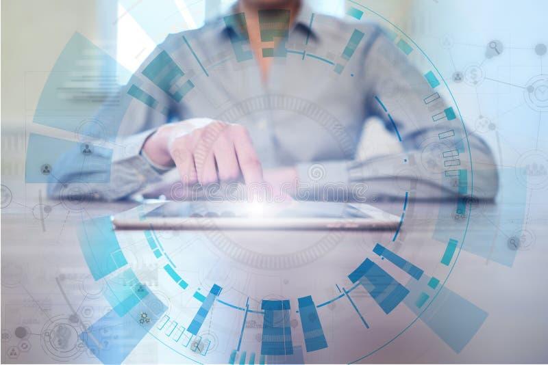 Raum f?r Text auf abstraktem Hintergrund Futuristische Schnittstelle des virtuellen Schirmes Innovationstechnologie und Geschäfts stock abbildung