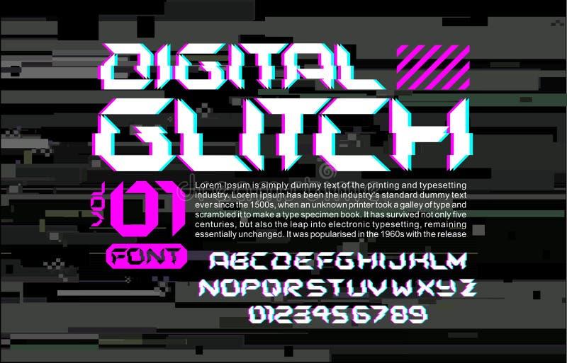 Raum-Gussbeschriftung des Störschubs High-Teche auf digitaler Störschubhintergrundcyberpunkart-Designzusammensetzung mit Stereovi lizenzfreie abbildung