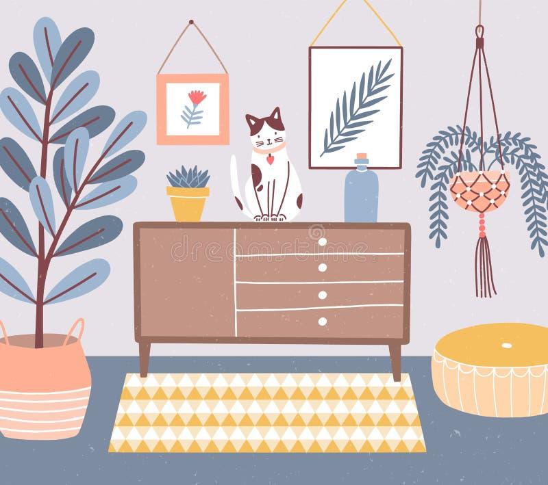 Raum Innen mit der Katze, die auf Kommode oder Schrank, Houseplants in den Töpfen, Osmane, Wandbilder sitzt wohnung stock abbildung