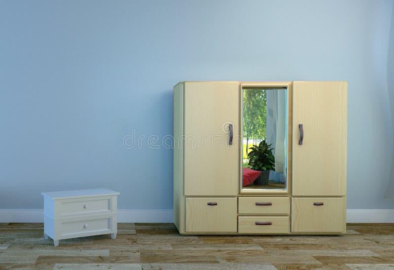 Raum Innen mit hölzerner Garderobe, hellblauer Wandhintergrund des Bretterbodens Wiedergabe 3d stock abbildung
