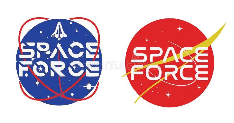 Raum-Kraft Logo Vector Illustration auf weißem Hintergrund stock abbildung