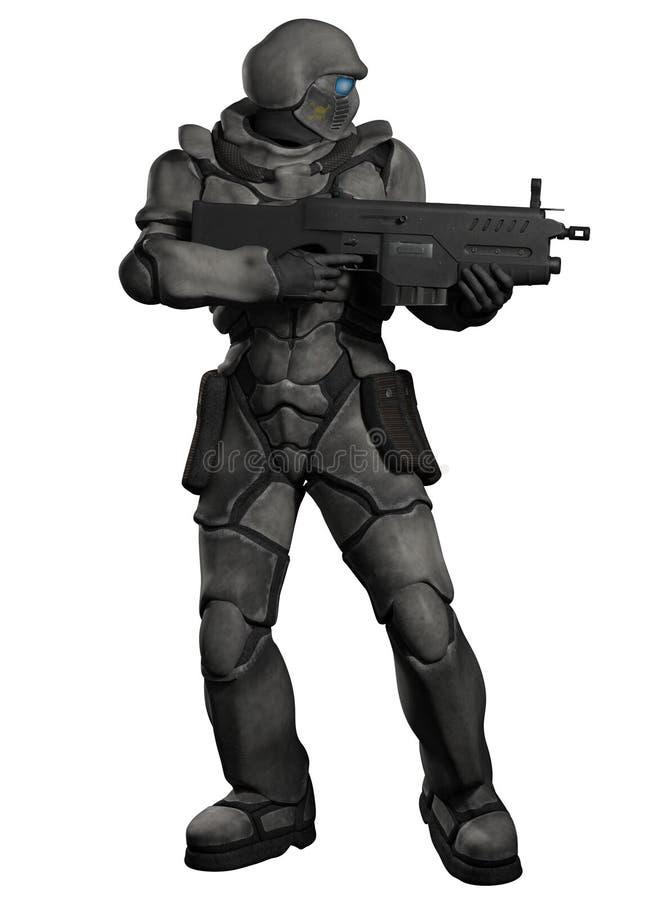 Raum Marine Trooper mit schwerem Gewehr stock abbildung