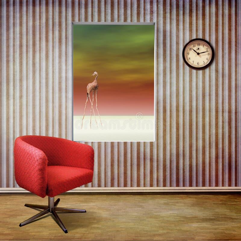 Raum mit Ansicht der surrealen Landschaft vektor abbildung