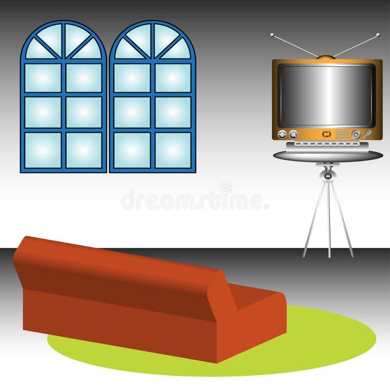 Raum mit Fernsehapparat und Sofa vektor abbildung