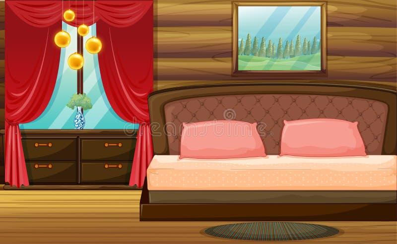 Raum mit hölzernem Bett und rotem Vorhang vektor abbildung