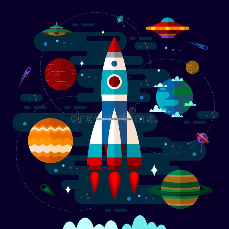 Raum mit Raumschiff, UFO und Planeten stock abbildung