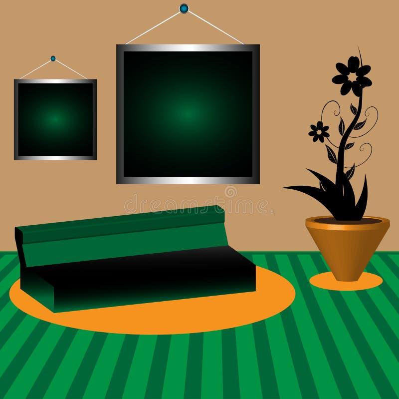 Raum mit Sofa und Blume vektor abbildung