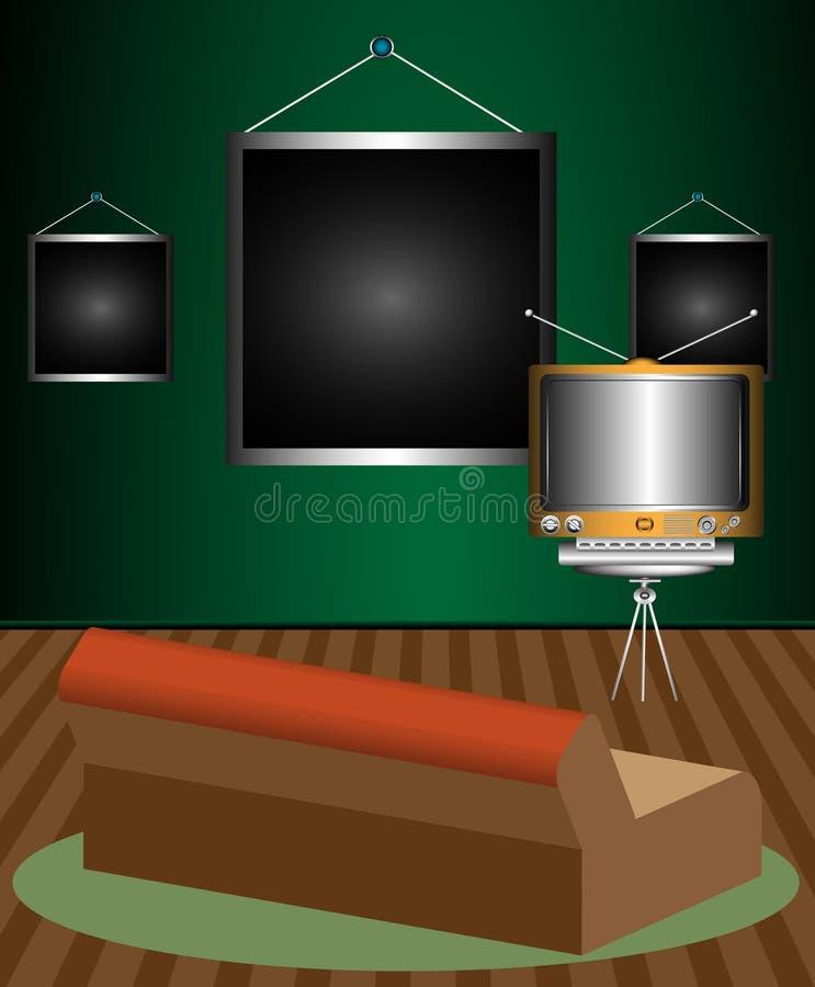 Raum mit Sofa und Fernsehapparat lizenzfreie abbildung