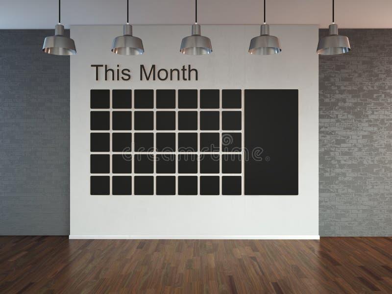 Raum mit Suchscheinwerfern, leerer Raum 3d mit Bretterboden und Backsteinmauer als Hintergrund mit Wandkalender Zeitplannotiz man stock abbildung