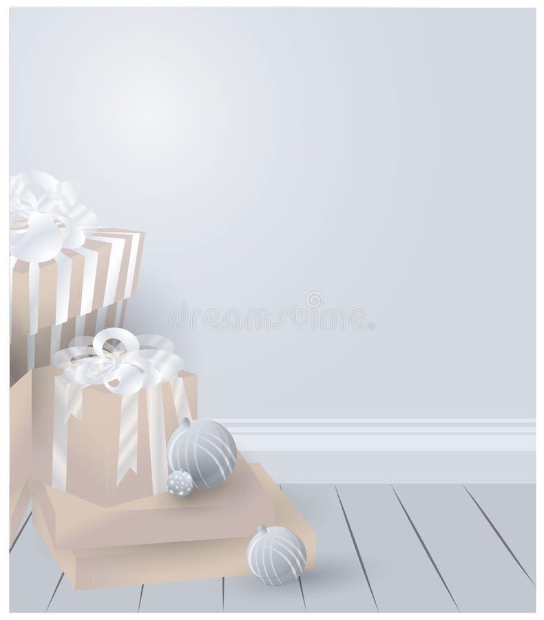 Raum mit Weihnachtsgeschenk-Vektorillustration lizenzfreie abbildung