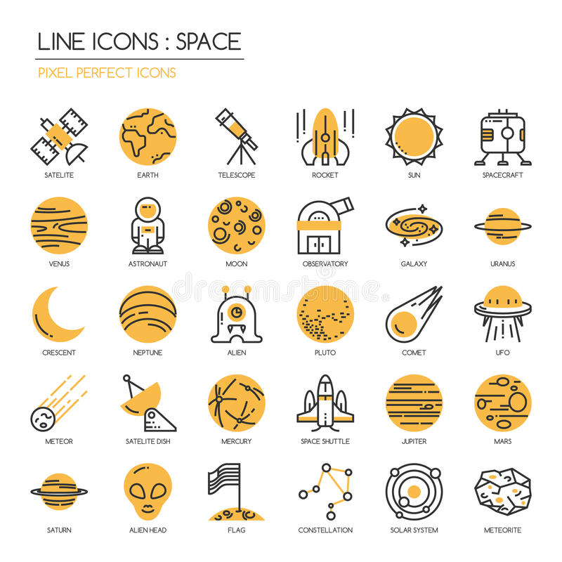 Raum, perfekte Ikone des Pixels vektor abbildung