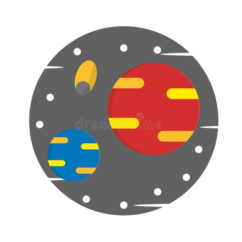 Raum, Planet, flache Artillustration - Vektor lizenzfreie abbildung