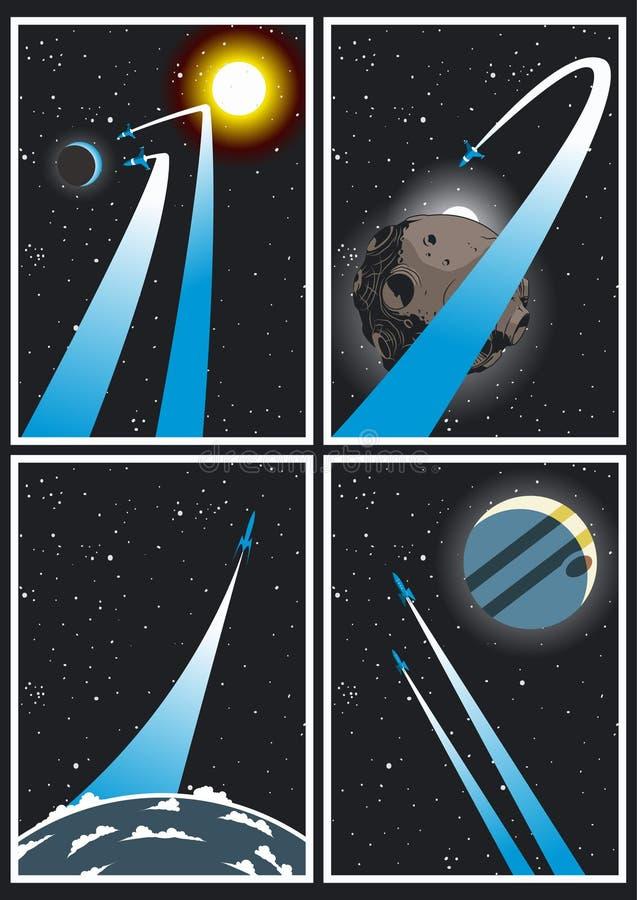 Raum Rocket Flight Poster Set vektor abbildung