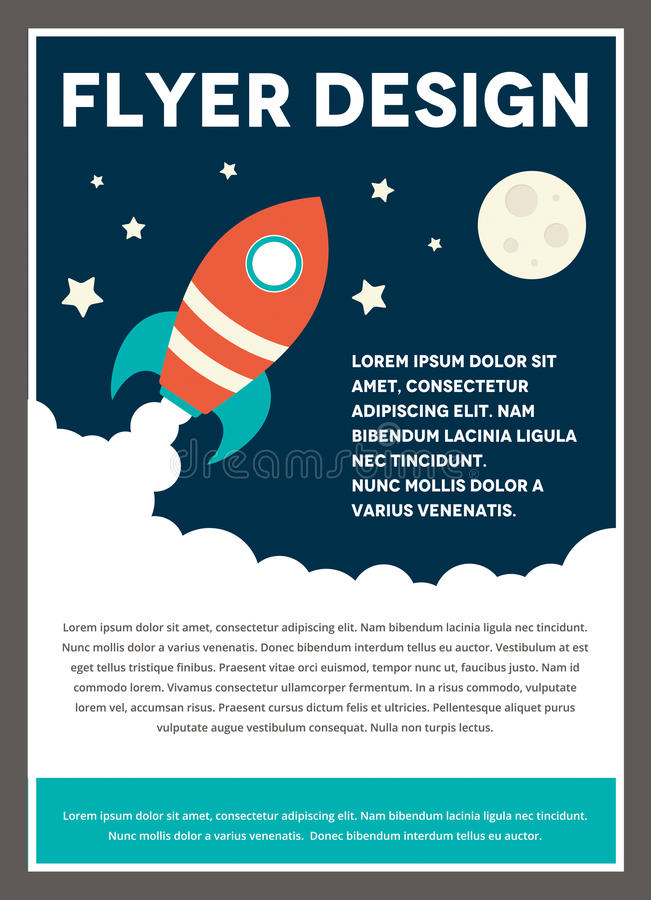 Raum Rocket Flyer Template Design lizenzfreie abbildung