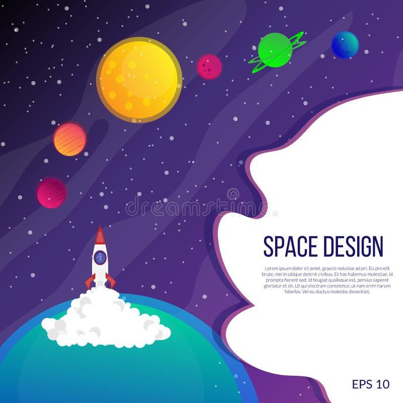 Raum und helle Planeten vektor abbildung