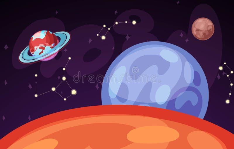 Raum- und Planetenlandschaftsvektorillustration Planeten tauchen mit Kratern, Sternen und Kometen im dunklen Raum auf Raumhimmel lizenzfreie abbildung