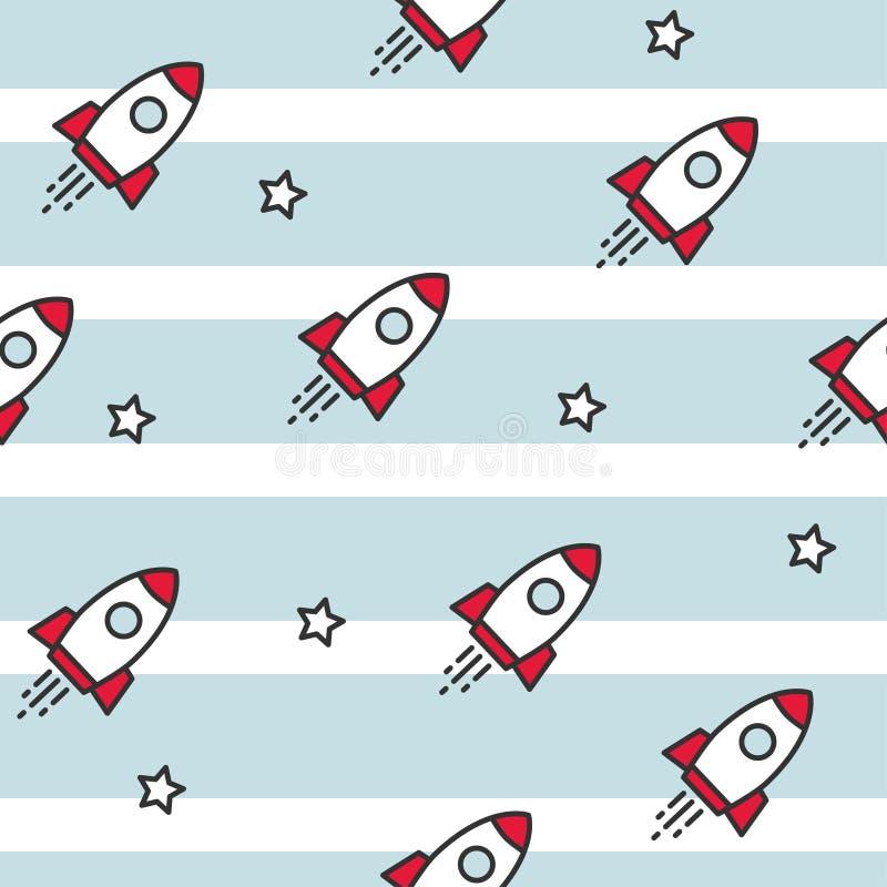 Raum und Raumschiffe Nahtloses Muster lizenzfreie abbildung