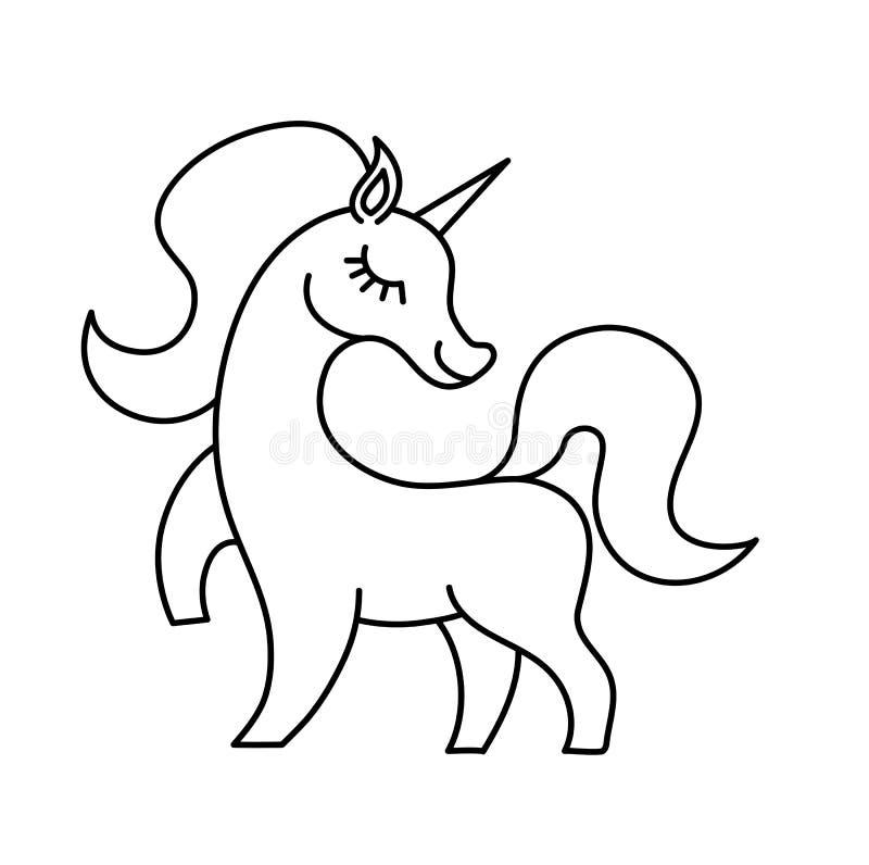 Raumeinhorn-Magieastronaut Nettes Karikaturpony des rosa Vektors mit der Regenbogenmähne und -horn auf Raumhintergrund stock abbildung