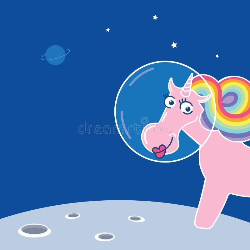 Raumeinhorn-Magieastronaut Tier auf Weiß Nettes Karikaturpony des rosa Vektors mit der Regenbogenmähne und -horn lizenzfreie abbildung