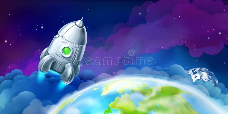 Raumfähre über der Erde lizenzfreie abbildung