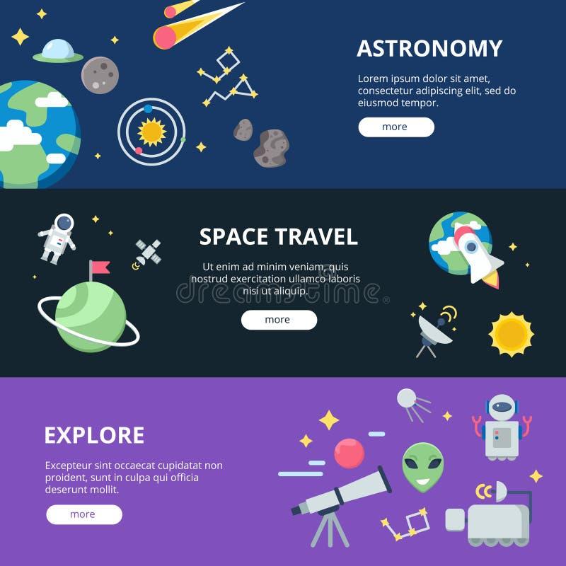Raumfahnen Mond und Sonnensystem mit Planeten mit Satelliten nähern sich Erd- und Raketen- oder Raumschiffshuttlevektornetz stock abbildung