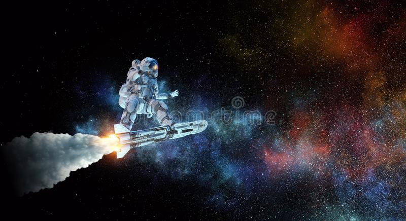 Raumfahrer auf Fliegenbrett Gemischte Medien stock abbildung