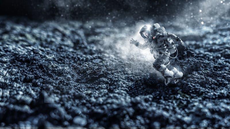 Raumfahrer, der schnelle gemischte Medien laufen lässt stock abbildung