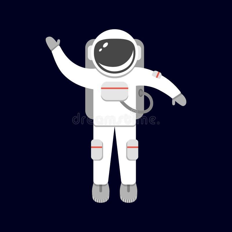 Raumfahrer lokalisiert auf schwarzem Hintergrund Astronaut im Weltraum Raumanzug Vektorillustration in der flachen Art lizenzfreie abbildung