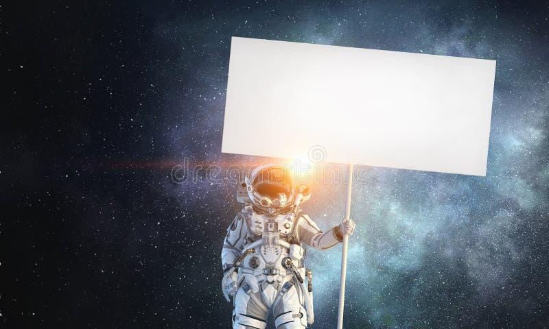 Raumfahrer mit Fahne Gemischte Medien lizenzfreie stockfotos