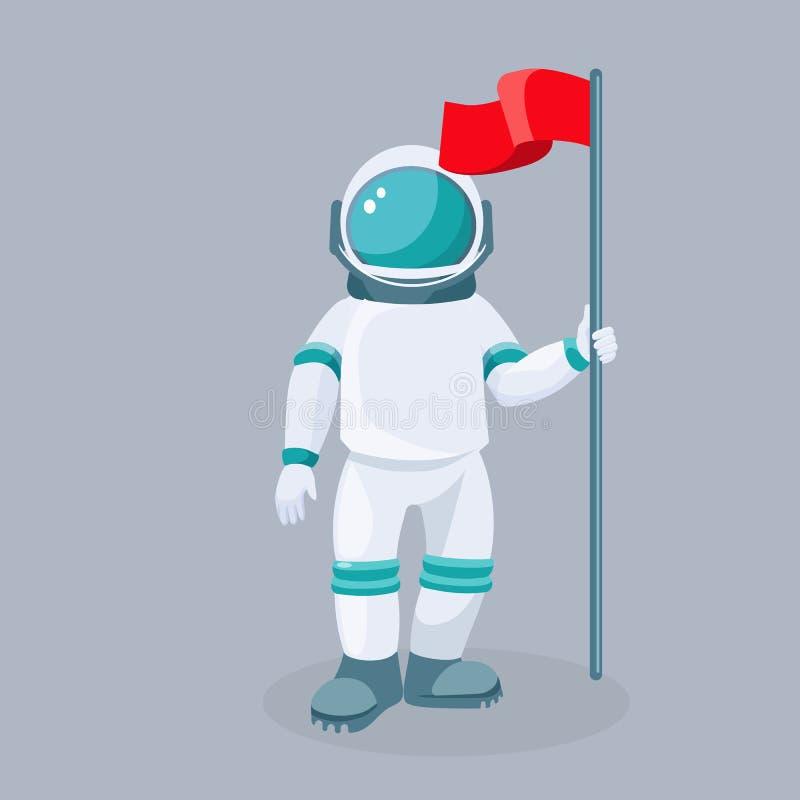 Raumfahrer mit rotem wellenartig bewegendem Flagge lokalisiertem Vektor Astronaut im Platz vektor abbildung