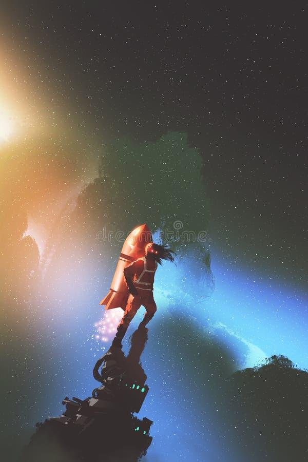 Raumfahrer mit roter jetpack Rakete, die gegen sternenklaren Himmel steht stock abbildung