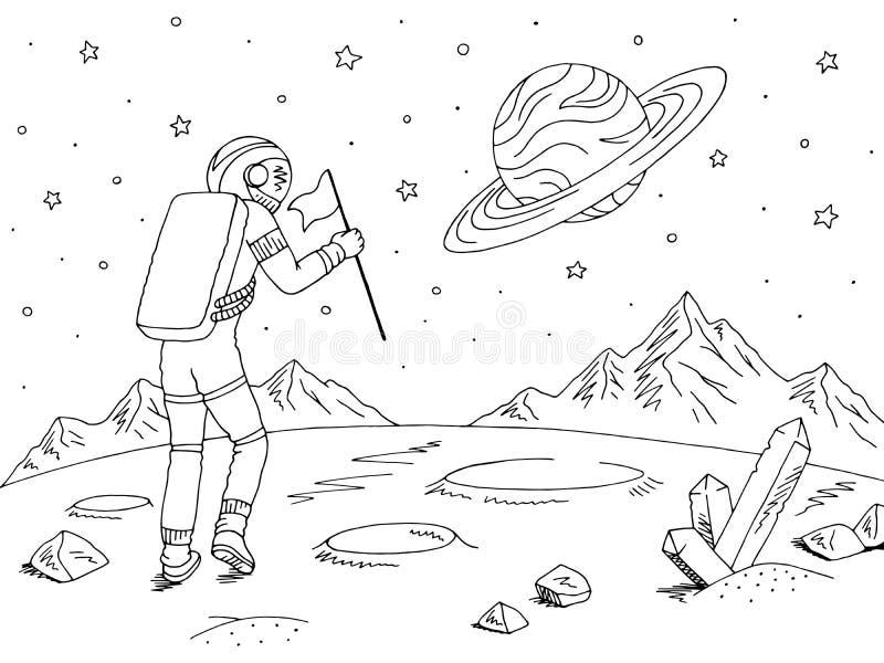Raumfahrerastronaut, der mit Flagge geht Leerraumlandschaftsskizzen-Illustrationsvektor des ausländischen Planeten grafischer sch lizenzfreie abbildung