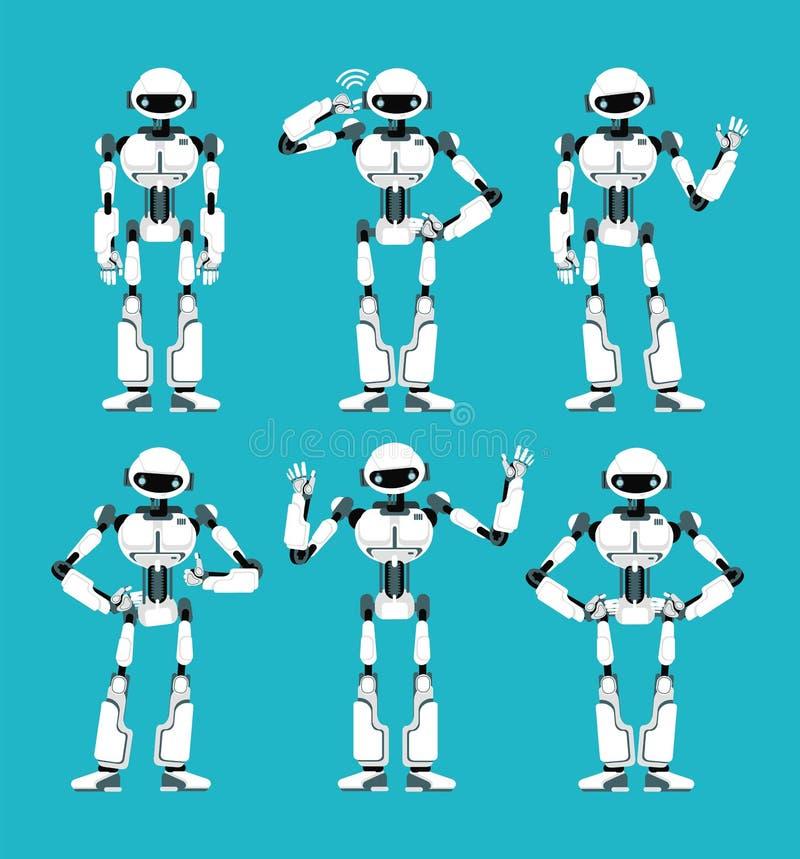 Raumfahrerroboter Android in den verschiedenen Haltungen Nette Karikatur futuristischer Humanoidzeichensatz stock abbildung