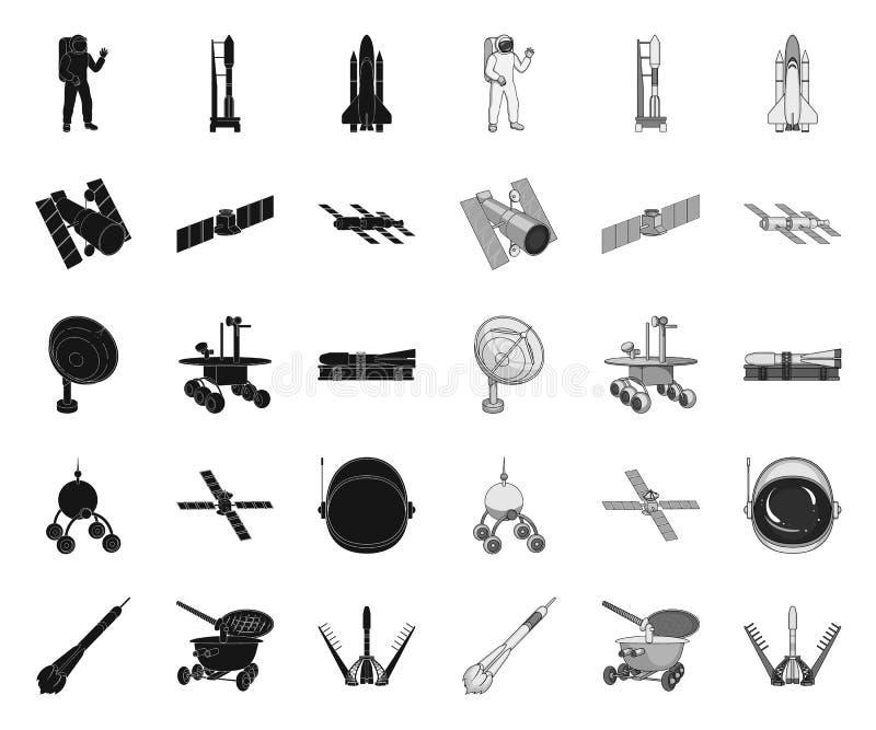 Raumfahrttechnik schwarz Monoikonen in gesetzter Sammlung f?r Entwurf Raumfahrzeug- und Ausr?stungsvektorsymbol-Vorratnetz vektor abbildung