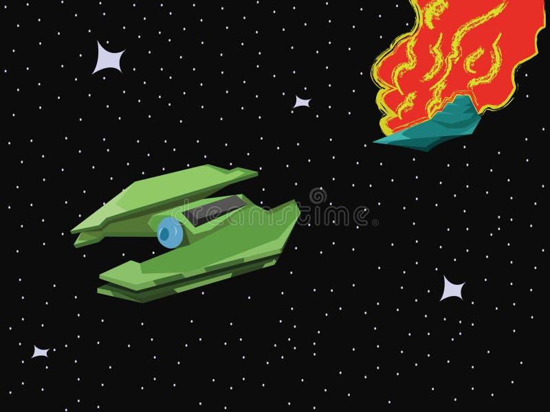 Raumfahrzeug-Raum-Explosion lizenzfreie abbildung
