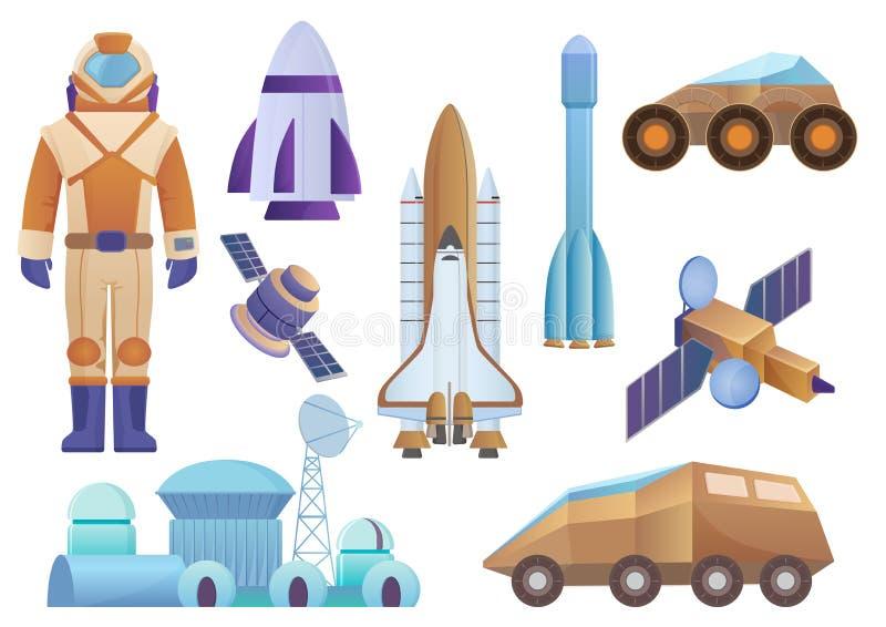 Raumfahrzeuge, Koloniengebäude, Rakete, Kosmonaut im Raumanzug, Satelitte und beschädigt Robotervagabundsatz Vektorgalaxieraum stock abbildung